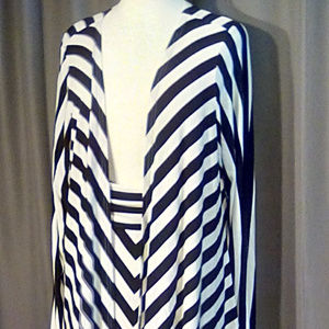 Liz Lange striped jacket/maxi skirt black & white